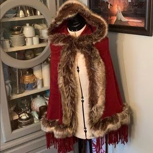 Faux fur cape with hood